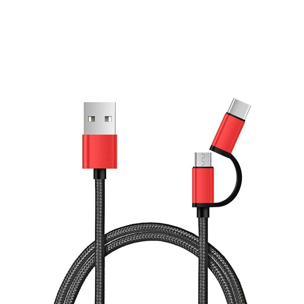2in1 Micro USB Type C 3A Fast Charging Data Cable for Android cell phone
