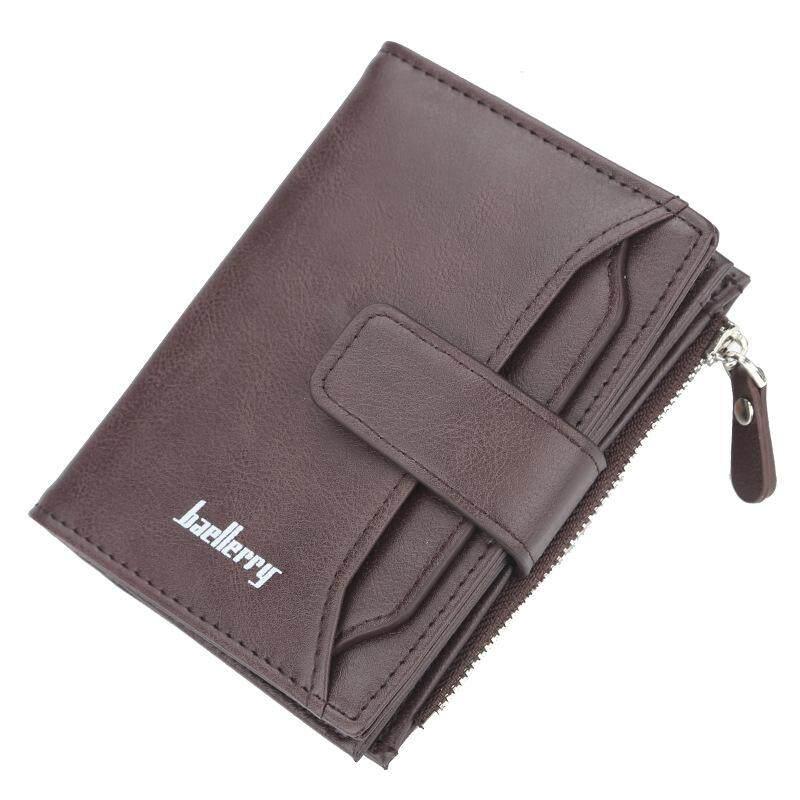Baellerry Men Wallets Fashion Desigh Zipper Card Holder Men Leather Purse Solid Coin Pocket