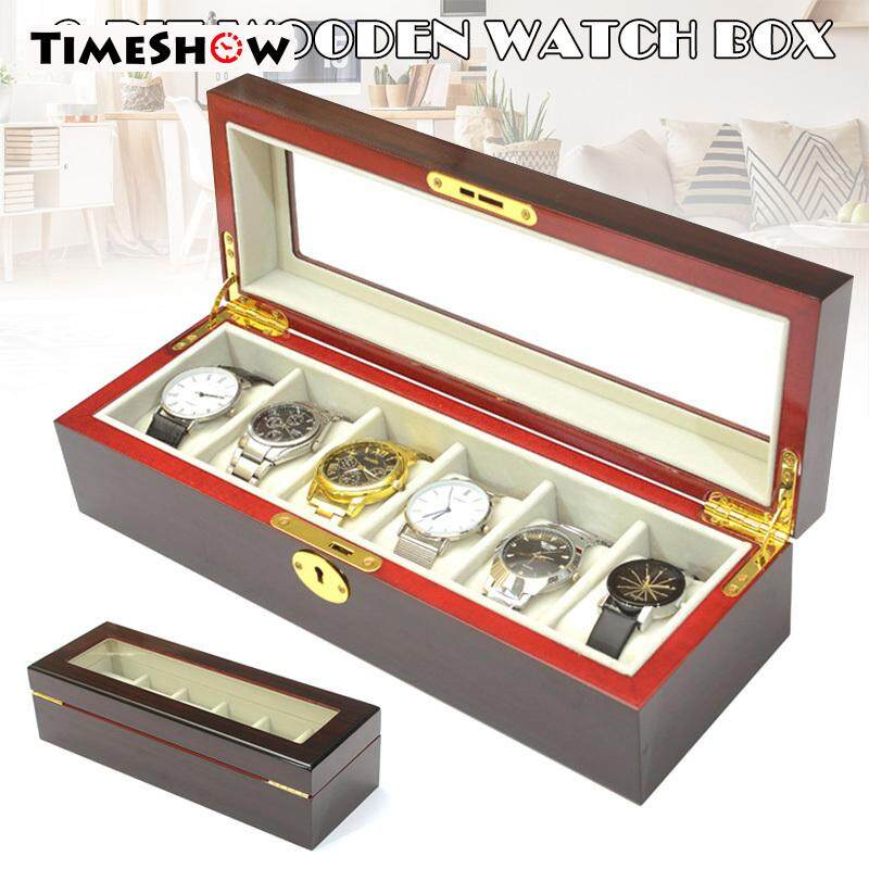 TimeShow 6 Slots Watch Protective Box Wooden Case Display Organizer Storage Tray for Men Women Malaysia