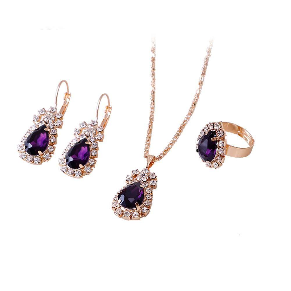 Gravitational Wave Fashion Waterdrop Shiny Rhinestones Necklace Ring Earrings Women Jewelry Set By Gravitational Wave.