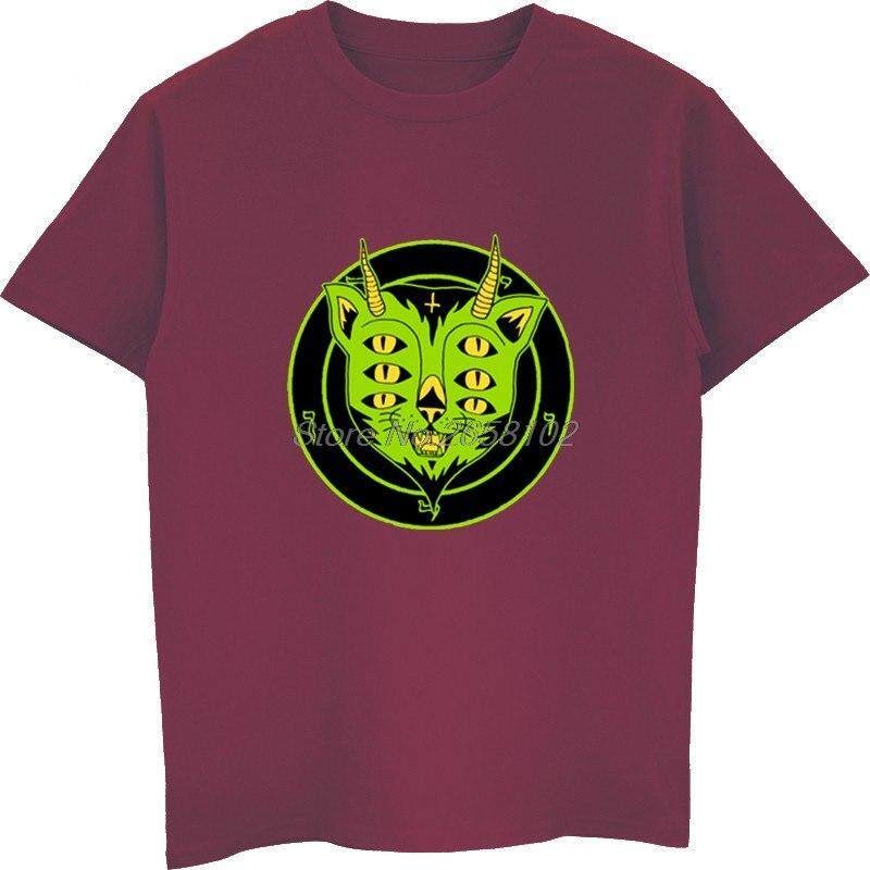 ffb5ec94c2 DTWL Fashion Men Cotton T-shirt Funny 6 Eyes Satanic Cat Print Men's Cool  Tshirt