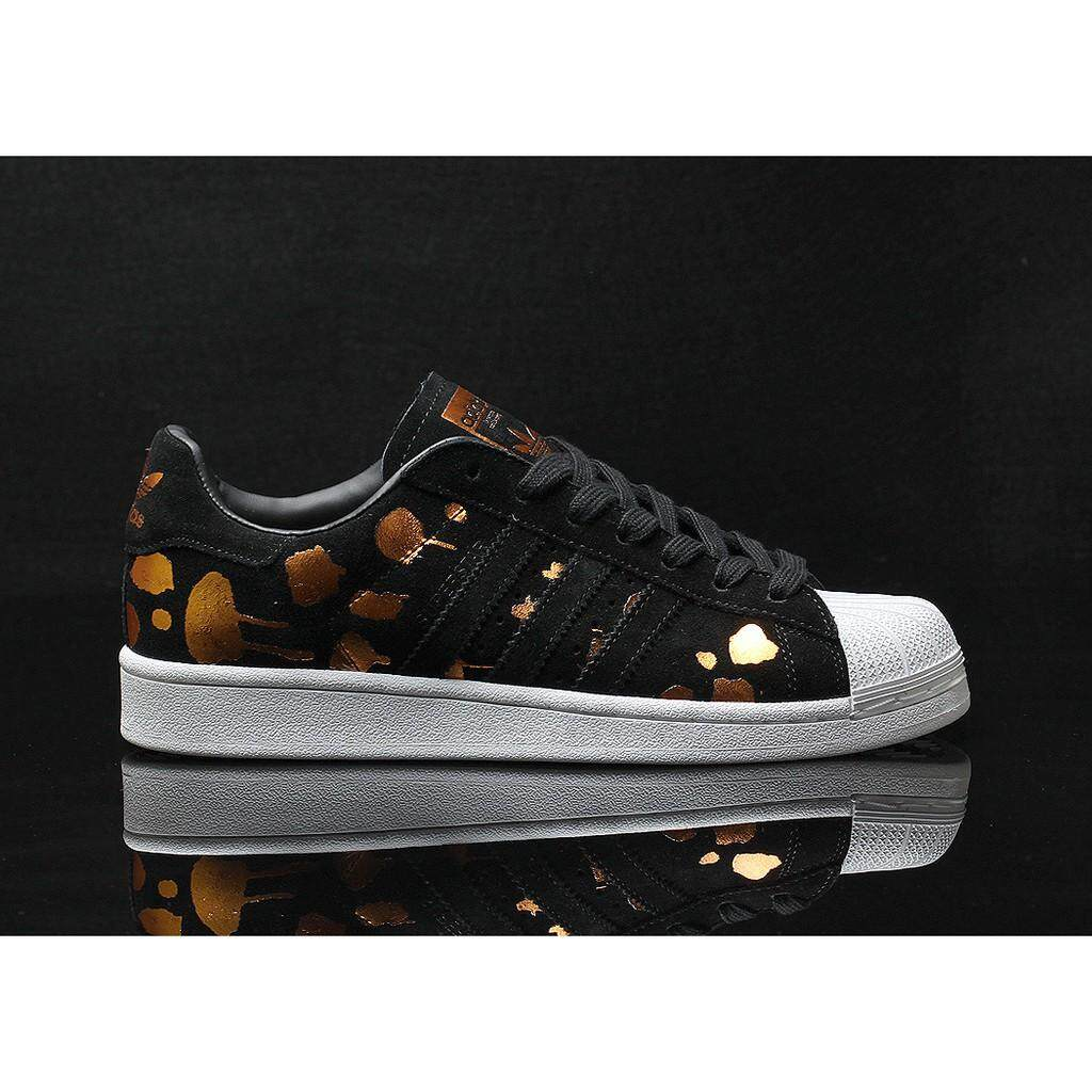 Ready Stock Adidas_Originals SUPER STAR Sports Shoes Sneakers Black Gold