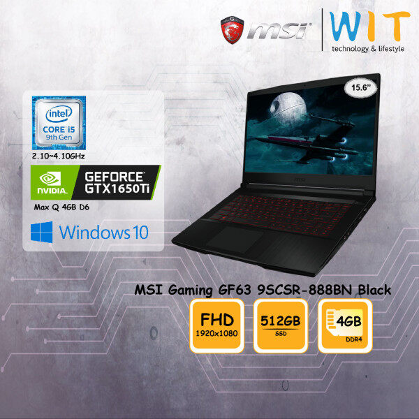 MSI Gaming Laptop GF63 9SCSR-888BN Black/Intel Core i5-9300H 2.10~4.10GHz/4GB DDR4/512 SSD/15.6FHD/NVD GTX1650Ti Max Q 4GB D6 Malaysia