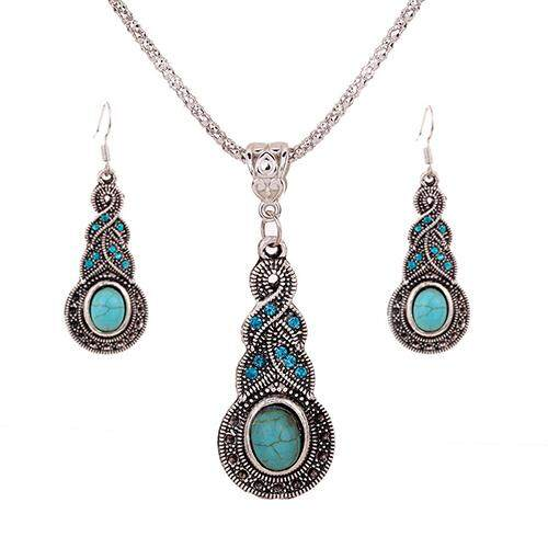 Gravitational Wave Womens Unique Retro Turquoise Pendant Rhinestone Earrings Necklace Jewelry Set By Gravitational Wave.