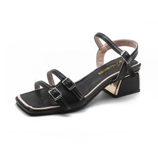 Xunlu818937 kích thước lớn 35-43 thời trang của phụ nữ Giày Da dây đeo 4cm vuông gót Sandals đối với phụ nữ trên bán thumbnail