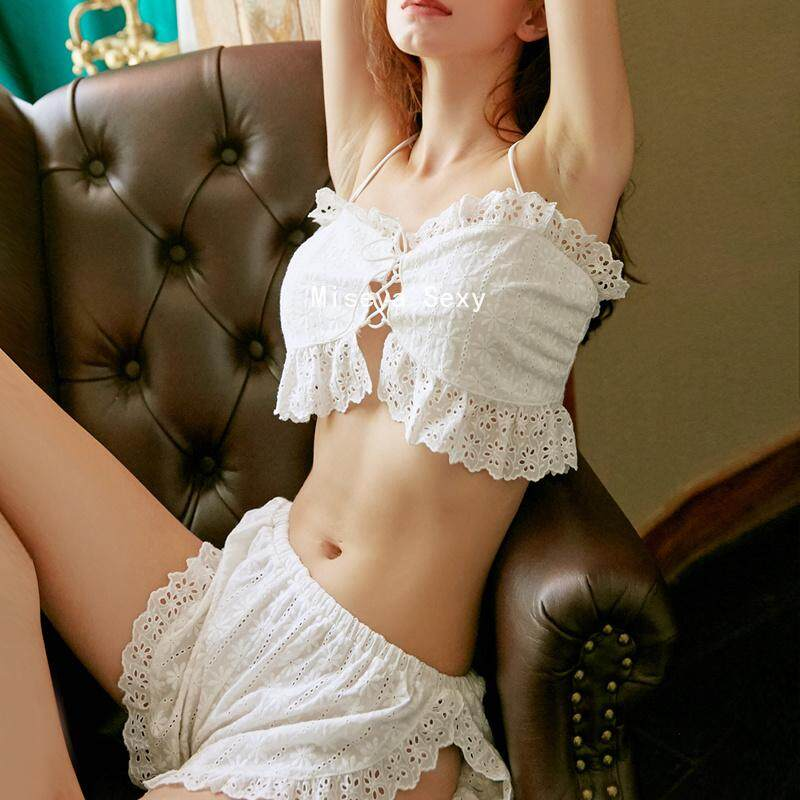 d84ba7a34 Sexy Retro Lolita Women Pajamas Lingerie Underwear Bra Shorts Set Lace  Embroidery Thin Bralette Panty Suit