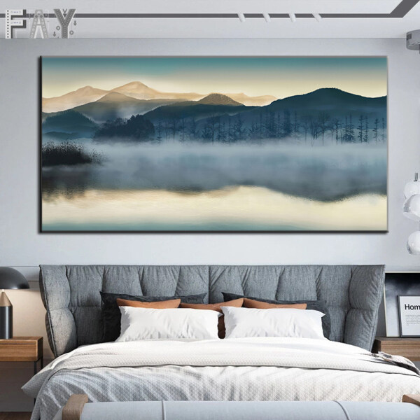 Canvas Paintings Abstract Misty Forest Landscape Poster and Prints Wall Art Home Decorative Picture For Living Room Cuadros