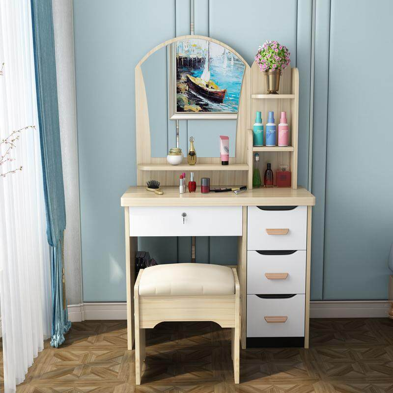 One-piece Dressing Table with Stool, HD Mirror, 4 Drawers, Solid Wood European Bedroom Dressing Table with Stool, Princess Makeup Cabinet Luxury flip Small Dressing, Korean Style