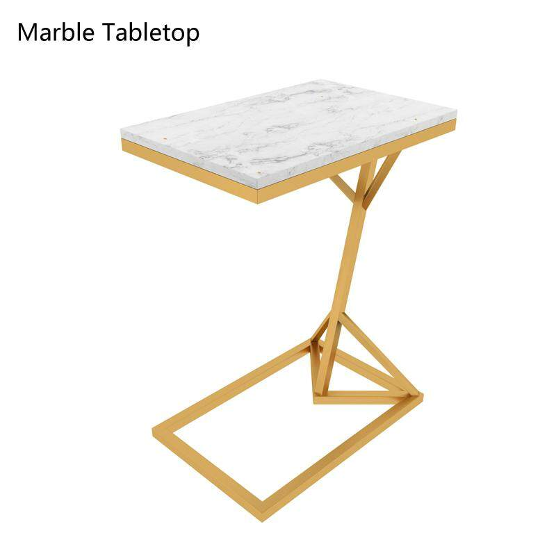 RuYiYu - Vintage Snack Side Table, Mobile End Rectangle Table for Coffee Laptop Tablet, Slides Next to Sofa Couch, Marble Tabletop Furniture with Metal Frame