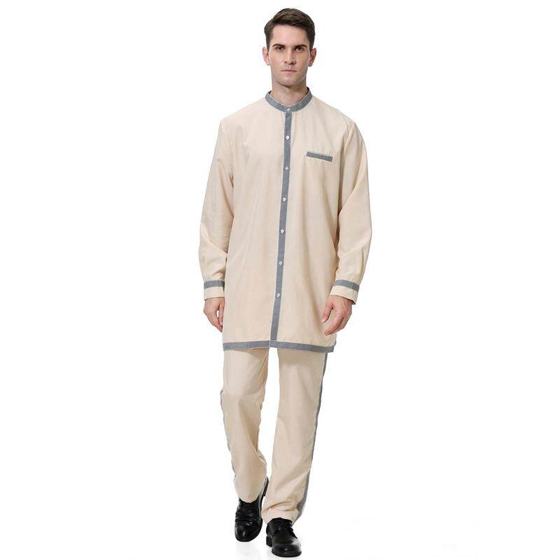 8ee774f5ef0 Arab Middle Eastern Muslim Men Robes Clothing Set Top Pant Set Islamic High  Neck Wear Cloth