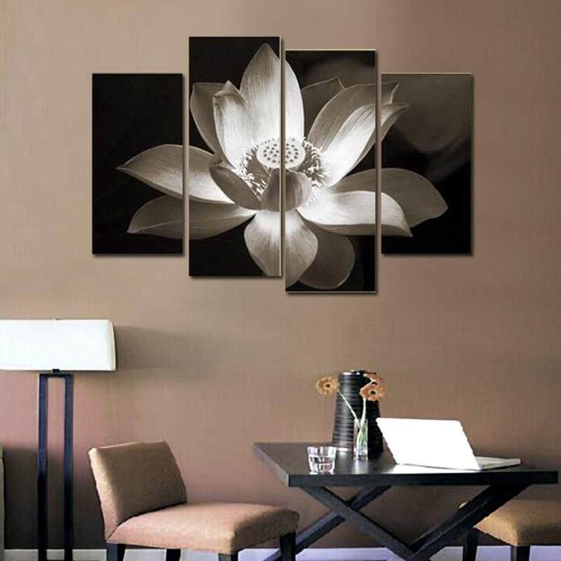 Chenxi Global 4 Pcs Seni Dinding Modern Dekorasi Rumah Dicetak Minyak Bunga Cetakan Lukisan Kanvas Tanpa