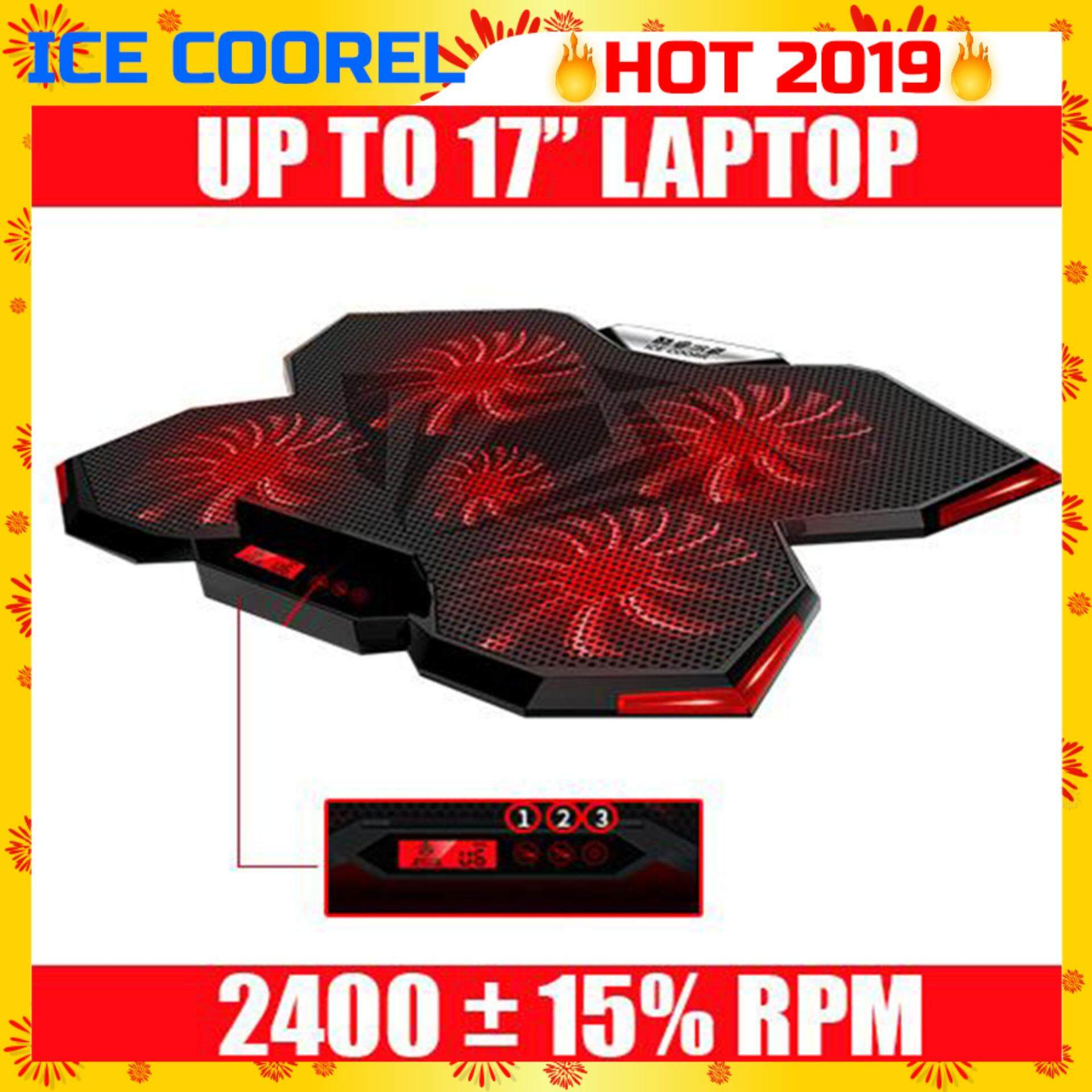 ICE COOREL K3 [NP66] Ice Cooling Laptop Cooler Pads Super Mute 5 Fans/3 Mode/6 Speed Control With Built-in LCD Display and Rack Stand for Laptop/Notebook-(Limited Red Light) Malaysia
