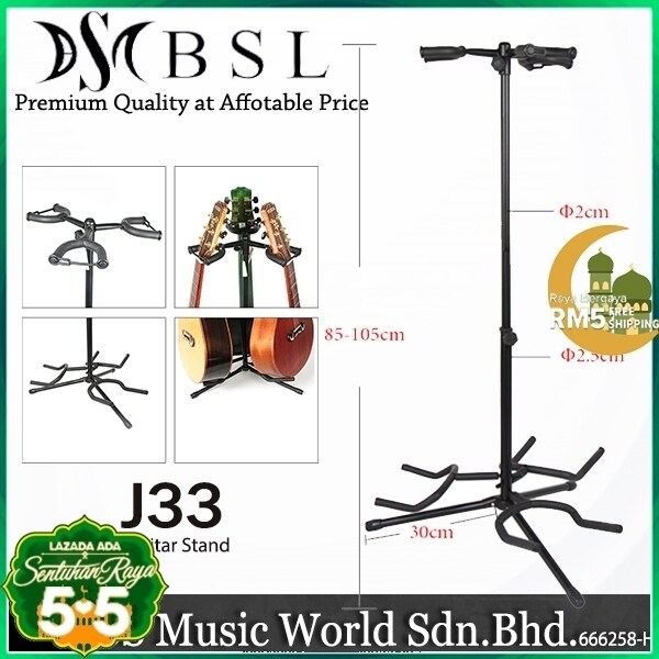 BSL J33 Triple Guitar Stand for Multi Guitar like Bass Electric Acoustic Classical Folk Ukulele Guitar Malaysia