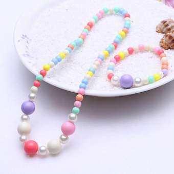MeiYang 1 เซ็ตสีลูกอม Handmade ลูกปัดสำหรับเด็กชุดเครื่องประดับเด็กทารกเด็กจำลองสร้อยคอมุกเซ็ตสร้อยและแหวนของขวัญเด็ก-