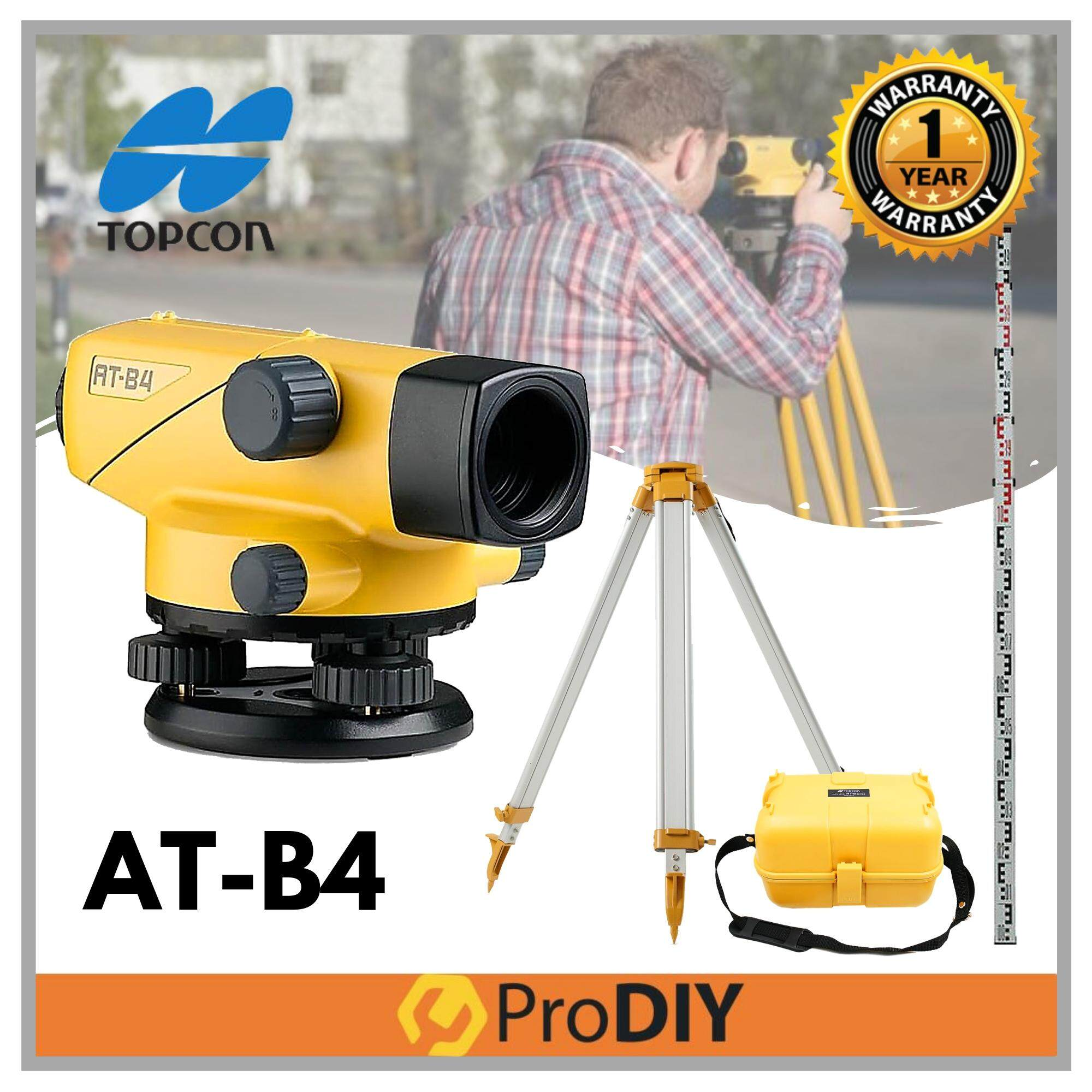 TOPCON AT-B4 Auto Leveling Dumpy With Ruler Staff & Tripod