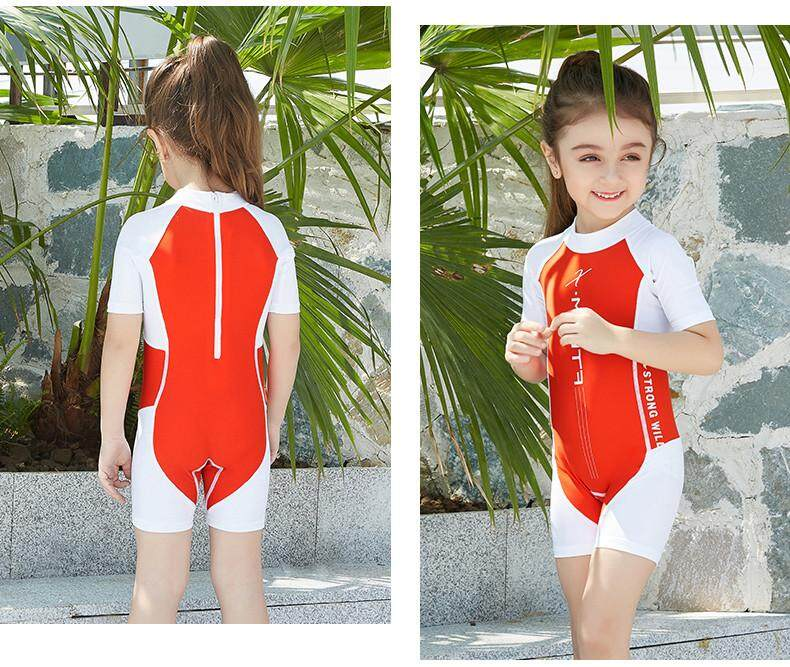 21806d79ff LiJiangangstore 2019 Children Boys And Girls Sunscreen Swimsuit Short Sleeve  Siamese Diving Suit Swim