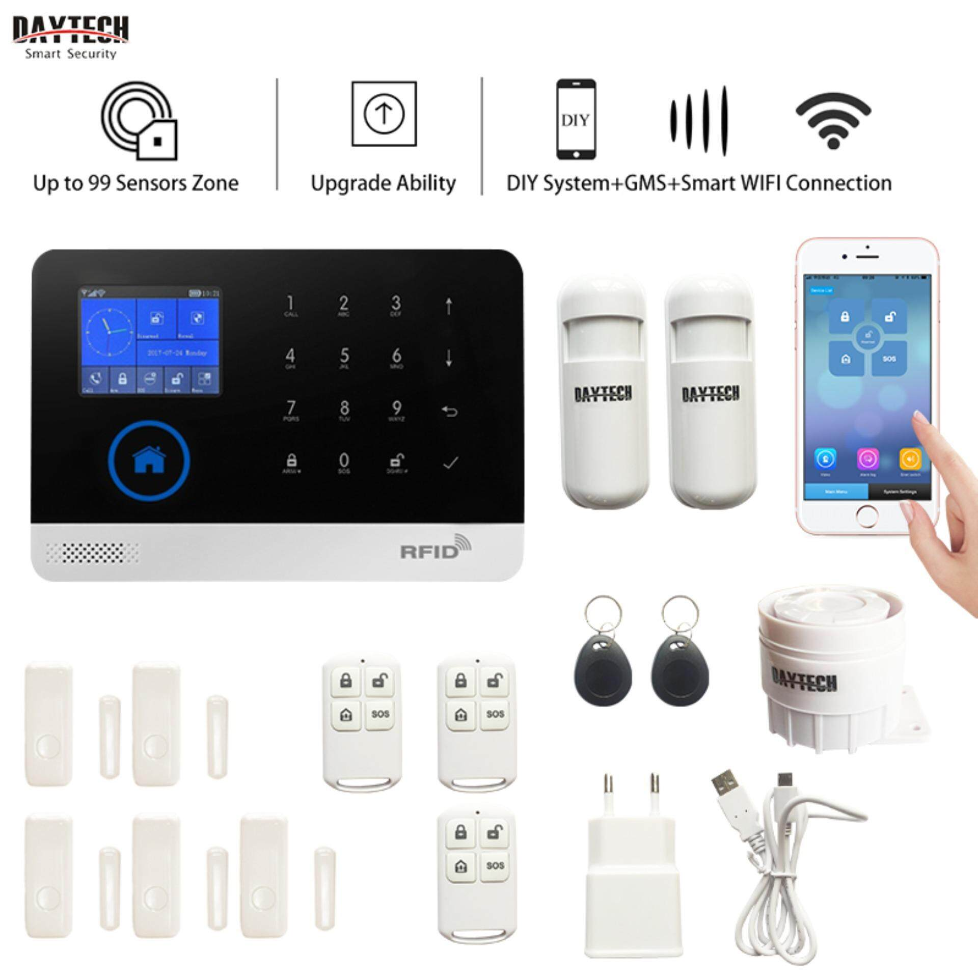 DAYTECH Wireless WiFi/GSM Alarm System Smart Home Security Alarm System Kit With Motion Detector Door Sensor iOS Android Phone APP Remotely Control KIT3