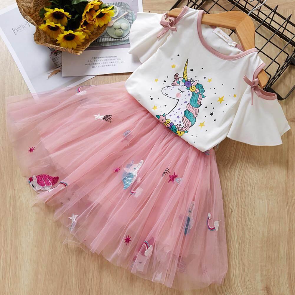 0939172b 2pcs/set Girls Unicorn Printed Short-sleeved T-shirt + Bubble Skirt Stylish