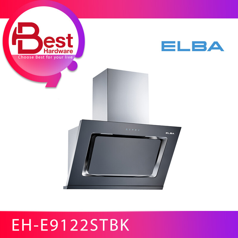 BEST HARDWARE - ELBA EH-E9122ST(BK) KITCHEN CHIMNEY HOOD 1400(m3/hr) 250W DESIGNER HOOD with CHARCOAL FILTER AND ALUMINIUM DUCTING