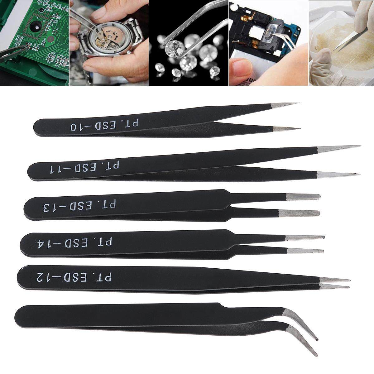 6pcs/set Stainless Steel Tweezers 1.0MM Anti-static Fix Repair Tool Kit for Electronics,Jewelry and Other Fine Crafts