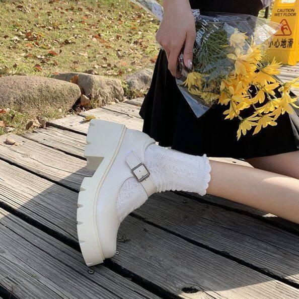 Giày Mary Jane Nhật Bản Giày Đơn Nữ Đế Dày Phong Cách Đại Học, Giày Da Nhỏ Kiểu Anh Khóa Một Chữ Mới 2021 giá rẻ