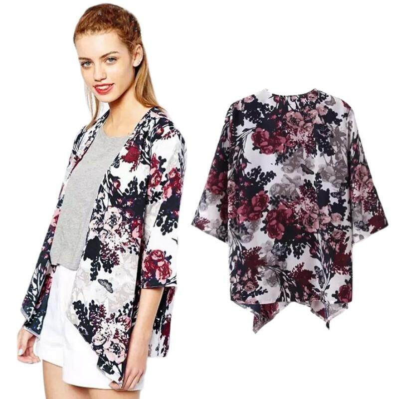 0efbf0ffb50 Women Floral Printed Cardigan Jacket Women Floral Blouse Coat Women Flower  Cardigan Outwear
