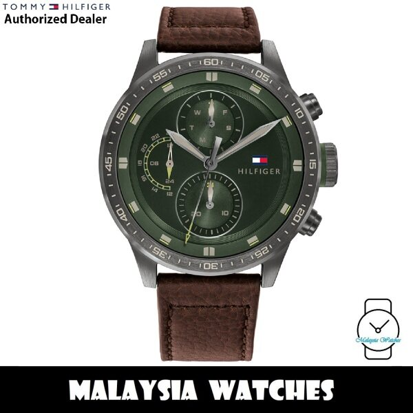 (100% Original) Tommy Hilfiger 1791809 Trent Quartz Green Dial Stainless Steel Case Brown Leather Strap Mens Watch (2 Years International Warranty) Malaysia