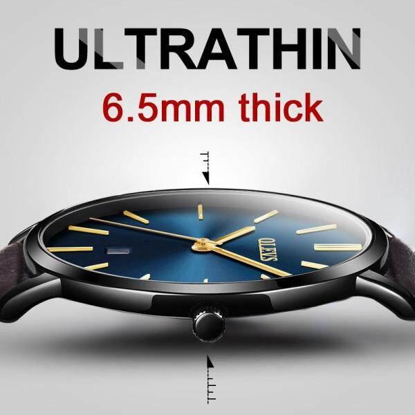 Đồng hồ thạch anh OLEVS cho nam, đồng hồ đeo tay hiển thị ngày, dây da thật, chống nước. thiết kế đơn giản - INTL bán chạy