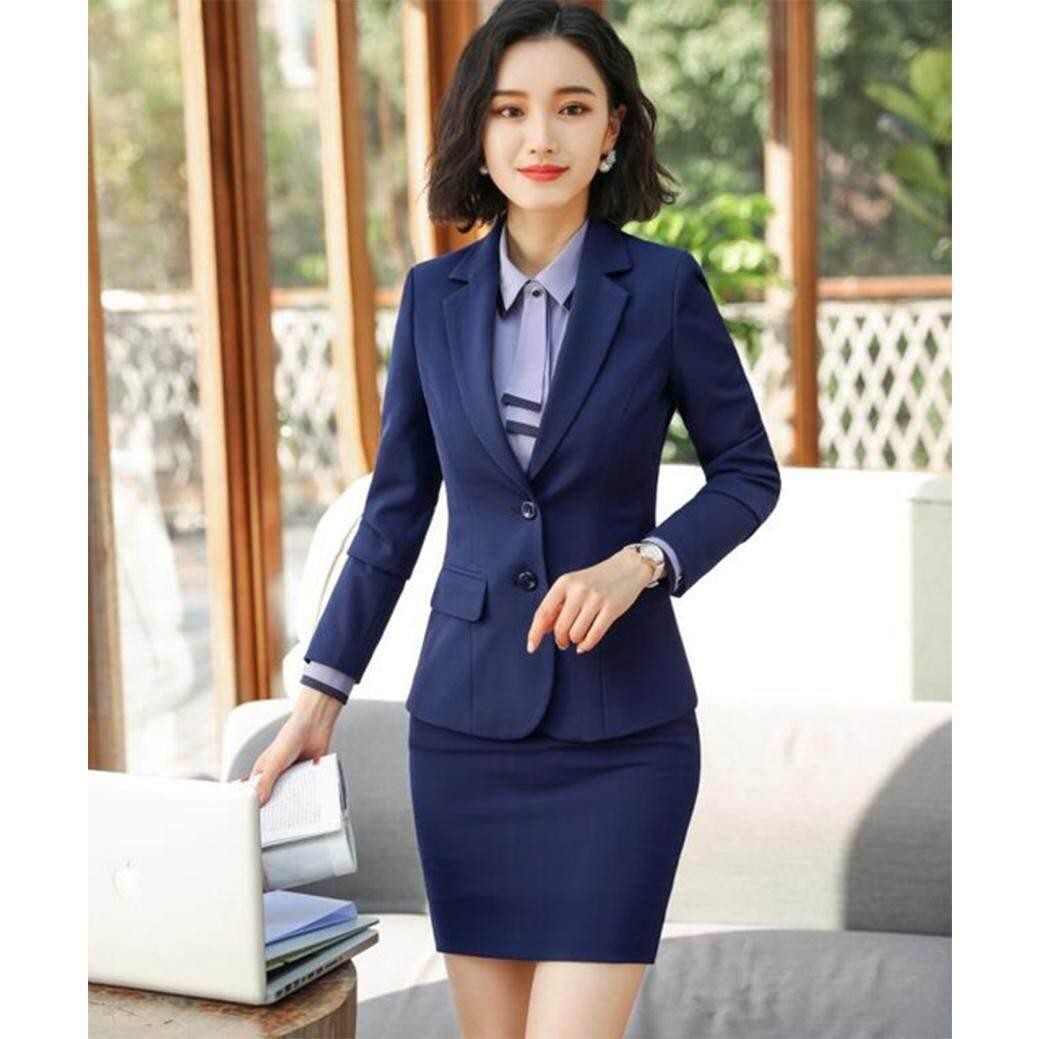 6d48e37ea New Fashion Business Interview Women Pants Suits Plus Size Work Wear Office  Ladies Long Sleeve Slim