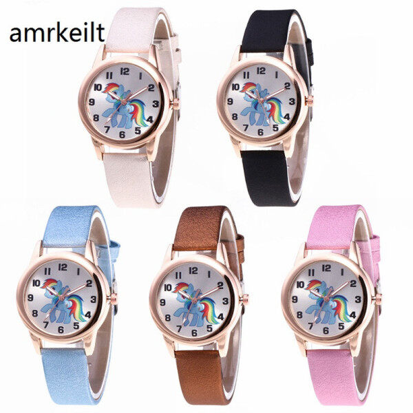 Lucky Unicorn Female Watch Child Watch Cartoon Rainbow Animal Child Girl Leather Quartz Watch Malaysia