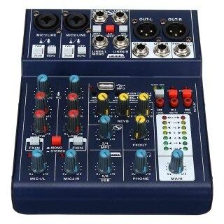 Mini 6 Channel Sound DJ Mixer Reverberation Console USB Record 48V Phantom DSP Effect Audio Mixer Karaoke Live Stage thumbnail