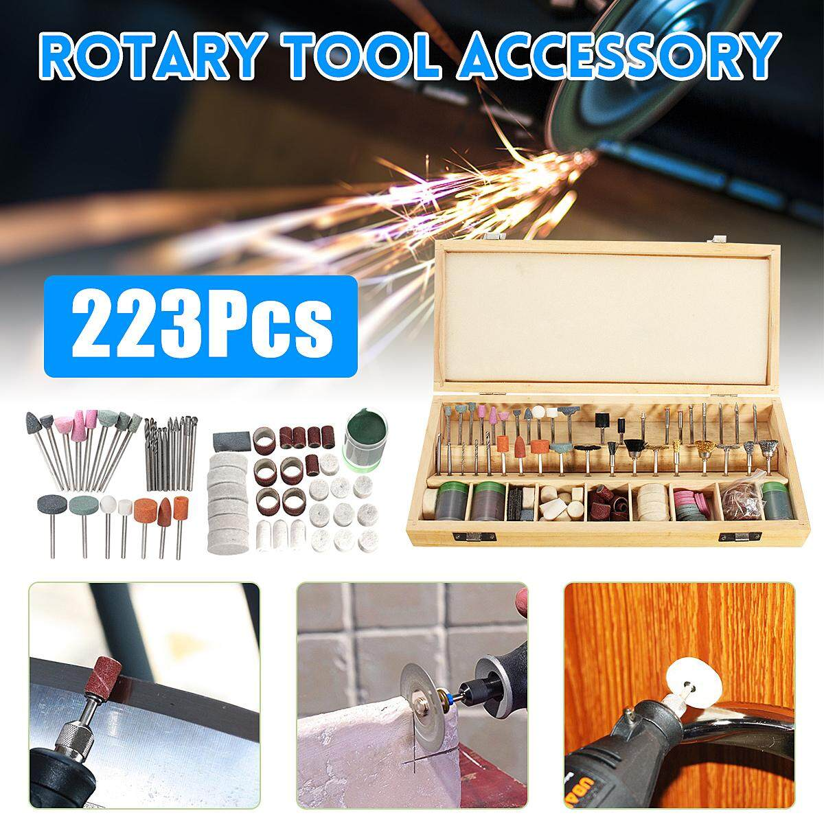 【Free Shipping + Flash Deal】223pc Rotary Tool Accessory Bit Set w Case 1/8 Accessories Grinding