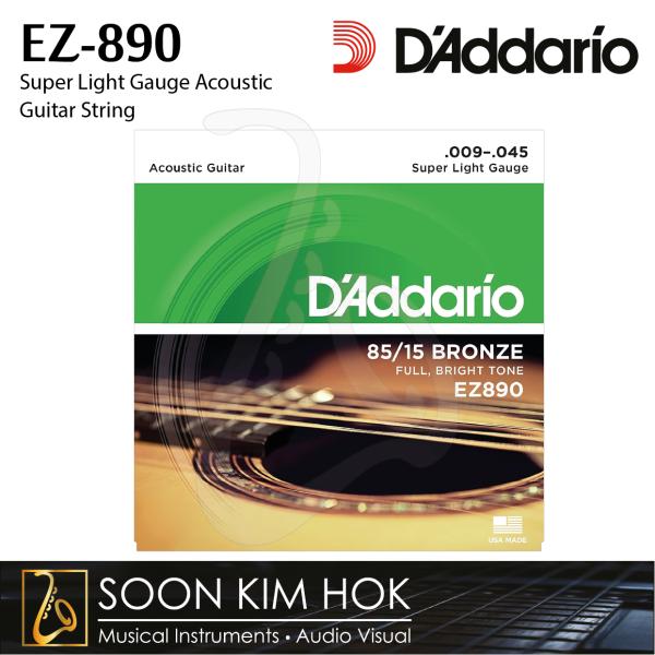 DADDARIO EZ-890 Super Light Gauge Acoustic Guitar String (.009 .012 .015 .025 .035 .045) (EZ890) Malaysia