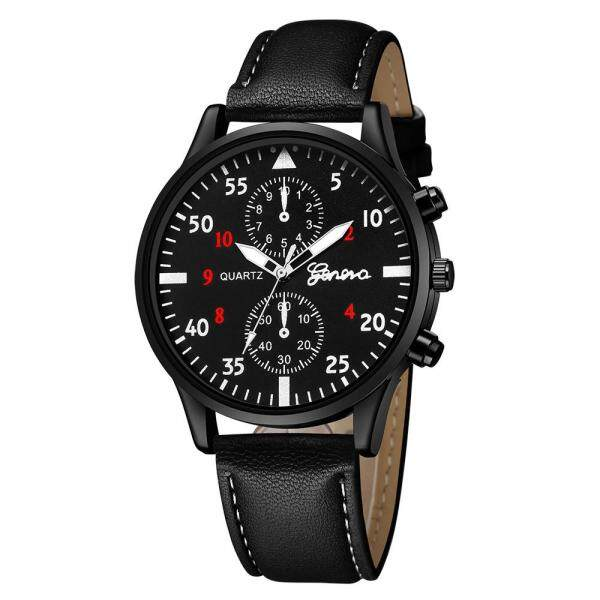 (YI)- Fashion Mens Leather Military Alloy Analog Quartz Wrist Watch Business Watches Malaysia