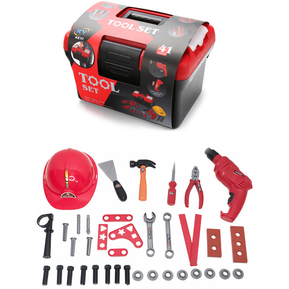 37PCS Kids Tool Set Electric Repair Screwdriver Toys Kit Simulation Pretend Play Tools with Storage Box for Children over 3 Years Old