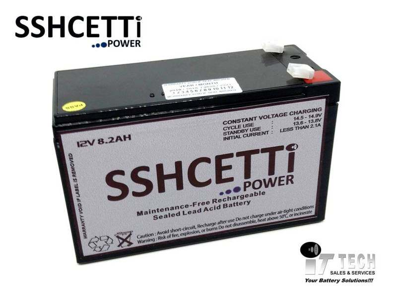 SSHCETTI 12V 8.2AH PREMIUM Rechargeable Sealed Lead Acid Battery For prolink battery compatible and also Electric Scooter/ Toys car / Bike /Solar /Alarm /Autogate Malaysia