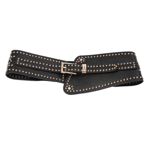 Giá bán Wide Leather Belt Punk Style Rivet Pin Buckle Belts PU Elastic Band Belt