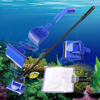 Máy Cạo Tảo Cán Dài 5 Trong 1, Bàn Chải Kính Cửa Sổ Dụng Cụ Làm Sạch Lưới Cho Bể Cá Lớn thumbnail