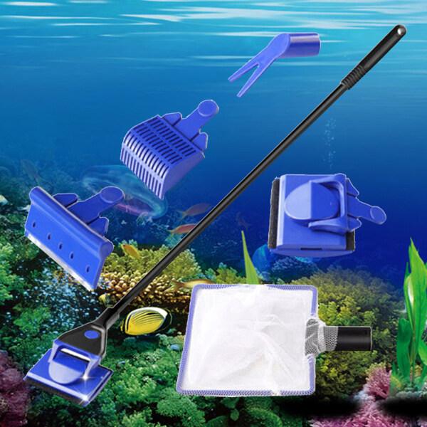 Máy Cạo Tảo Cán Dài 5 Trong 1, Bàn Chải Kính Cửa Sổ Dụng Cụ Làm Sạch Lưới Cho Bể Cá Lớn