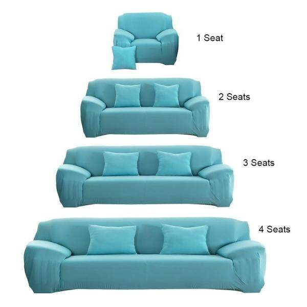 1 2 3 4 Seater Sarung Sofa Cover Universal L-Shape Slipcover Home Room Decoration Plain color including foam stick one sofa cover one free pillow case