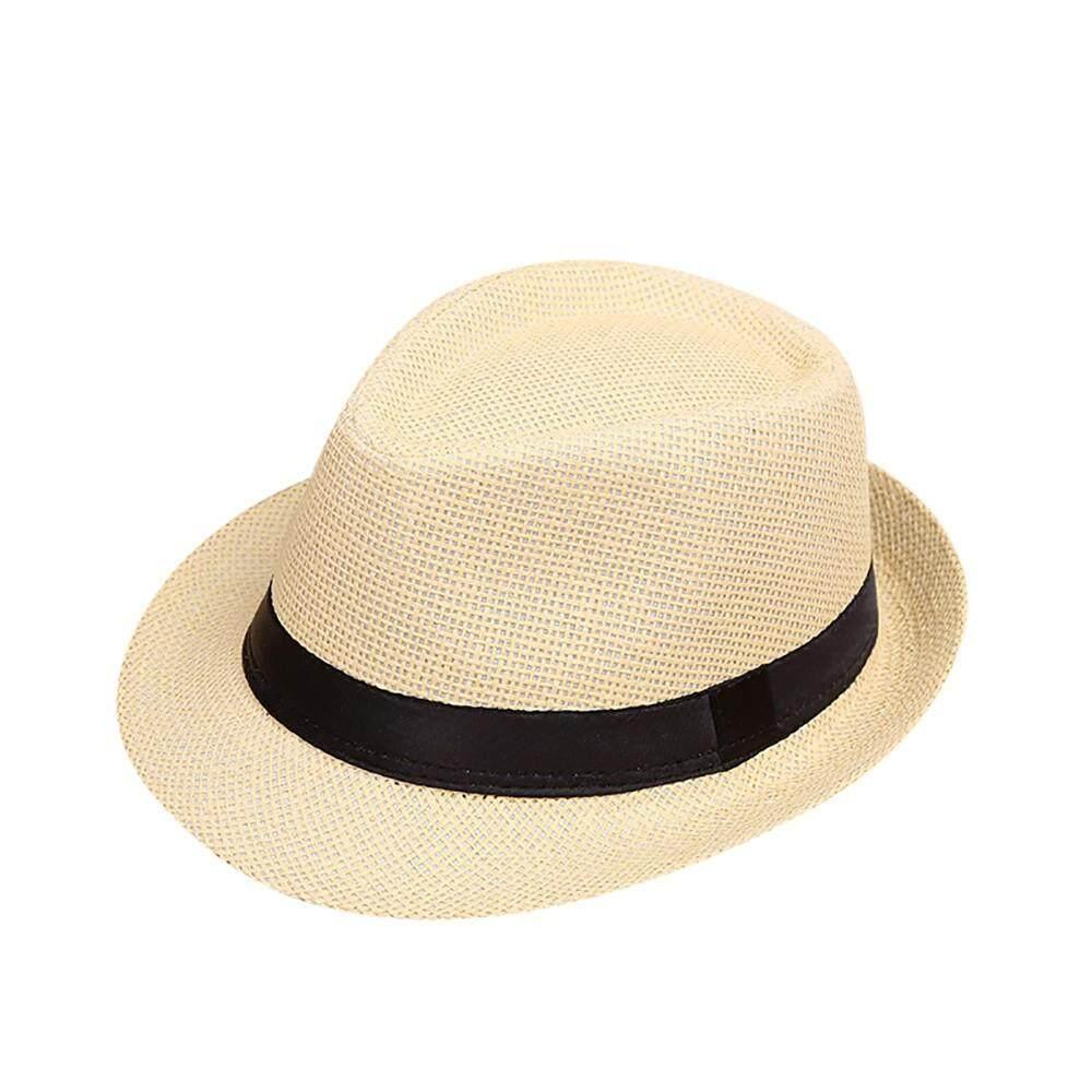 174f7e3985f  KATATA Children Kids Summer Beach Sun Hat Jazz Panama Trilby Fedora Hat  Gangster Cap