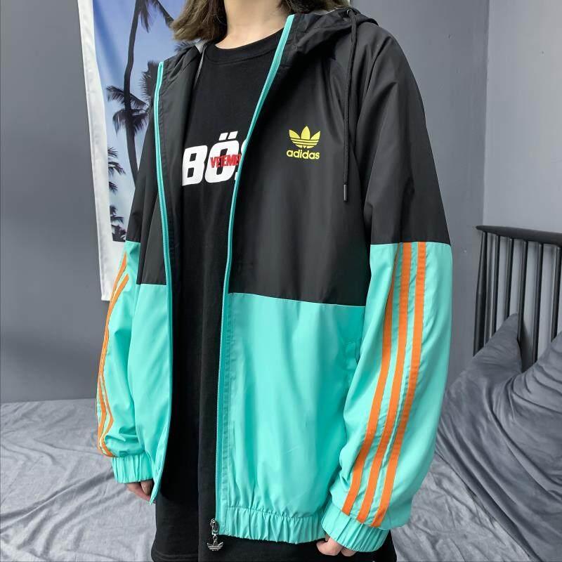 Adidas_Sports Chạy Bộ Áo Khoác Không Thấm Nước, Áo Gió Đôi Dáng Rộng Chất Lượng Cao Áo Hoodie Adidas_Original, Áo Khoác Nam Nhẹ