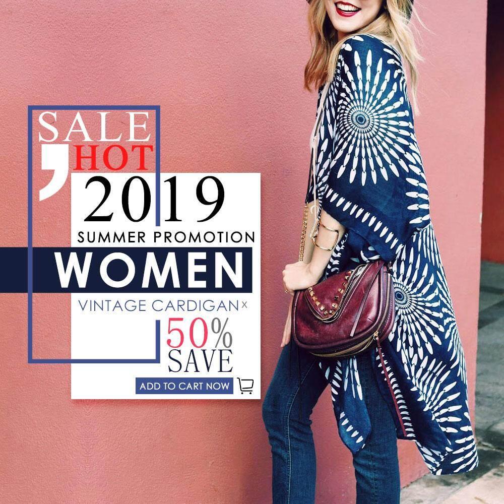 (free Shipping Fee)women Summer Vintage Cardigan Geometry Print Kimono Beach Cover Up Outwear Dark Blue - Intl By Tomtop.