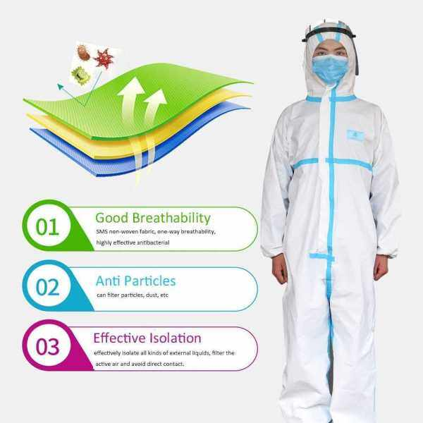 Disposable Protective Coverall Protective Overalls Isolation Gown Safety Clothing Suit With Reinforced Sealing Strip Security-Protection Suits Anti Particles Spatter (White&Blue)