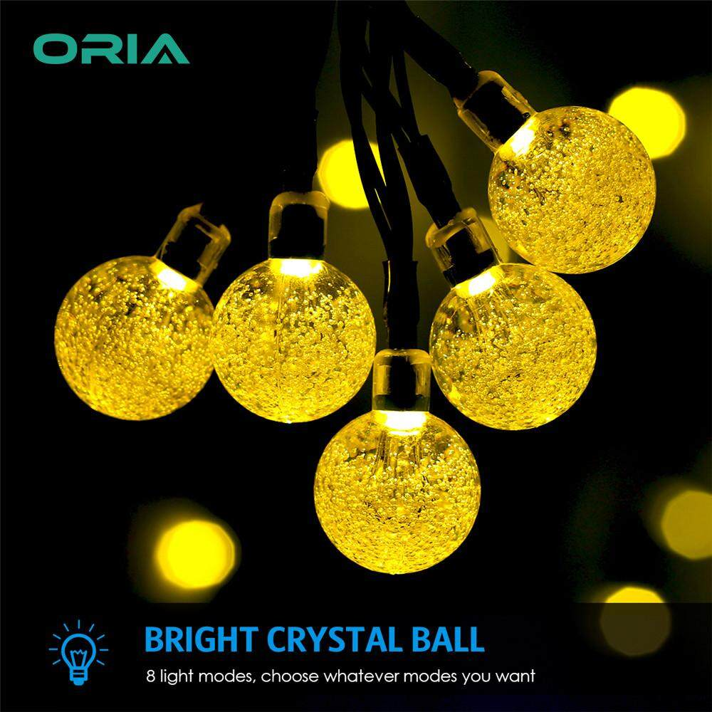 ORIA 50 LED Solar Outdoor String Light Waterproof Globe Crystal Ball Fairy Lights for Christmas Tree Decorations Patio Garden Wedding Holiday Party Indoor and outdoor Decorations