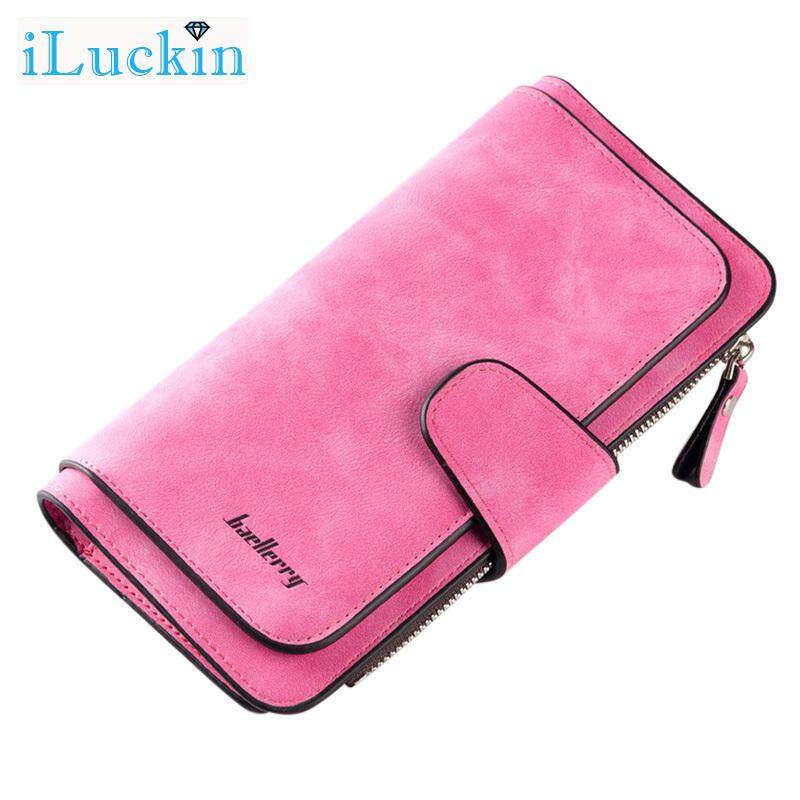 562daa723 iLuckin Women Scrub PU Leather Lady Purses 3 Folded Zipper Buckle Long  Female Wallet