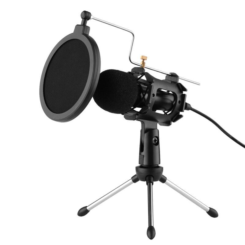 Video Microphone Kit Với Mini Microphone Tripod Sốc Núi Pop Lọc Kính Chắn Gió Adapter Cable 3.5 Mét Cắm