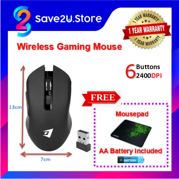W300 2400DPI Wireless 2.4GHz Professional Gaming Mouse Included Battery FOC Mousepad Malaysia