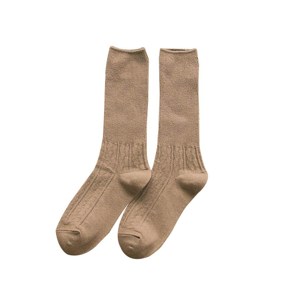 24db019c71dce Autumn and Winter Long Tube Pile Socks Thick Cotton Breathable Pure Color  Socks for Women