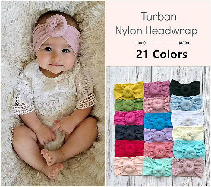 Toddler Girl Kid Baby Big Bow Hairband Headband Stretch Turban Ball Head Wrap